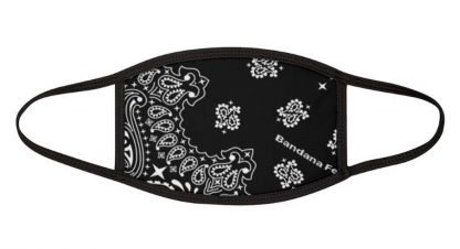 Black Bandana Custom Face Mask Black by BandanaFever.com