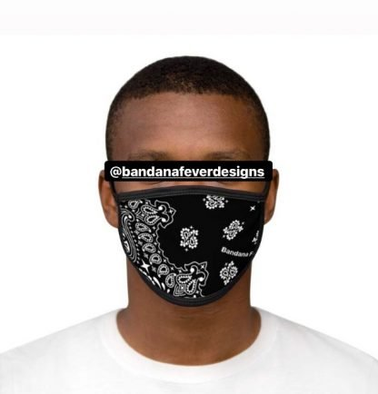 Black Bandana Custom Face Mask Black Model at BandanaFever.com
