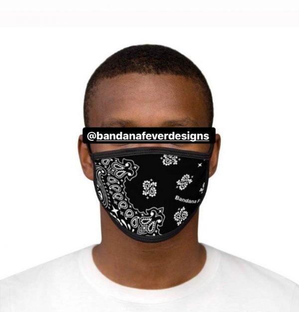 Black Bandana Custom Face Mask Black Model at BandanaFever.com