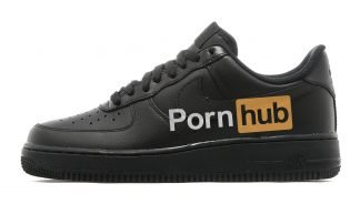 Pornhub Custom Nike Air Force 1 Low Black Shoes by BandanaFever.com
