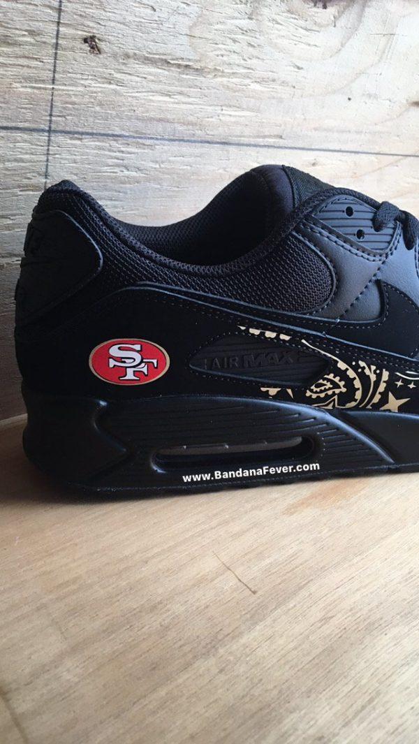 SF 49ers Gold Bandana Custom Nike Air Max Shoes Black Close at BandanaFever.com