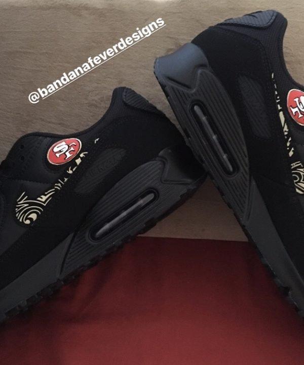 Bandana Fever SF 49ers Gold Bandana Custom Nike Air Max Shoes Black Insides at BandanaFever.com