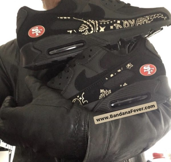 Bandana Fever SF 49ers Gold Bandana Custom Nike Air Max Shoes Black Pair at BandanaFever.com