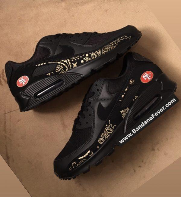 Bandana Fever SF 49ers Gold Bandana Custom Nike Air Max Shoes Black Stagger at BandanaFever.com