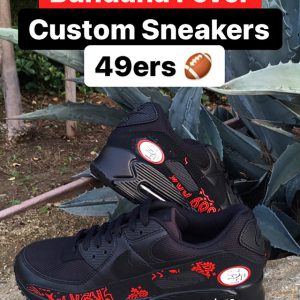 SF 49ers Red Bandana Nike Air Max Shoes Black Stacked at BandanaFever.com