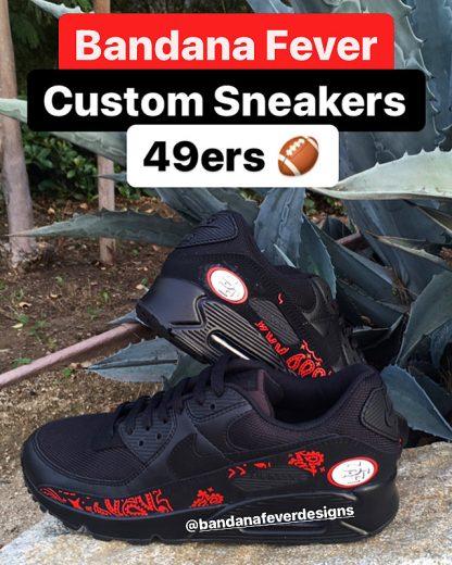 SF 49ers Red Bandana Nike Air Max Shoes Black Stacked at BandanaFever.com