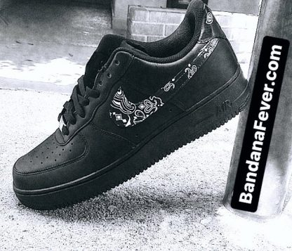 Bandana Fever Black Bandana Scarf Custom Nike Air Force 1 Shoes Black Swoosh at BandanaFever.com
