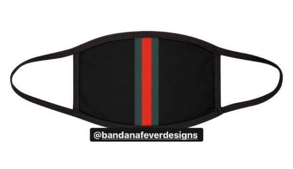 Bandana Fever Gucci Custom Face Mask Black at BandanaFever.com