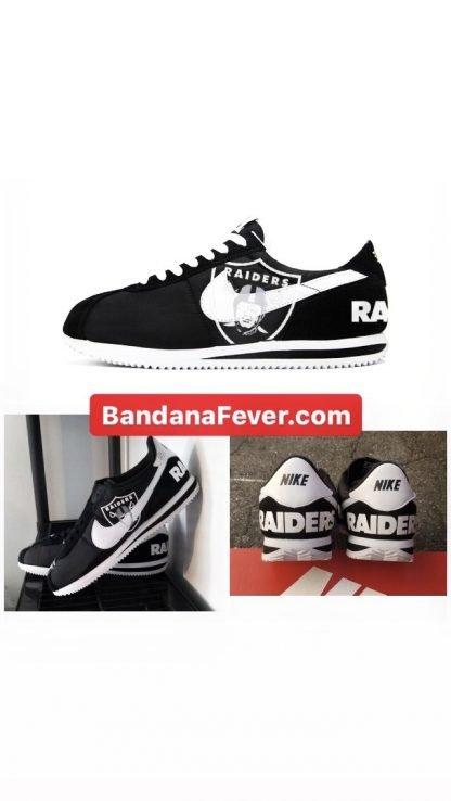 Bandana Fever Oakland Raiders Custom Nike Cortez Shoes Black by BandanaFever.com
