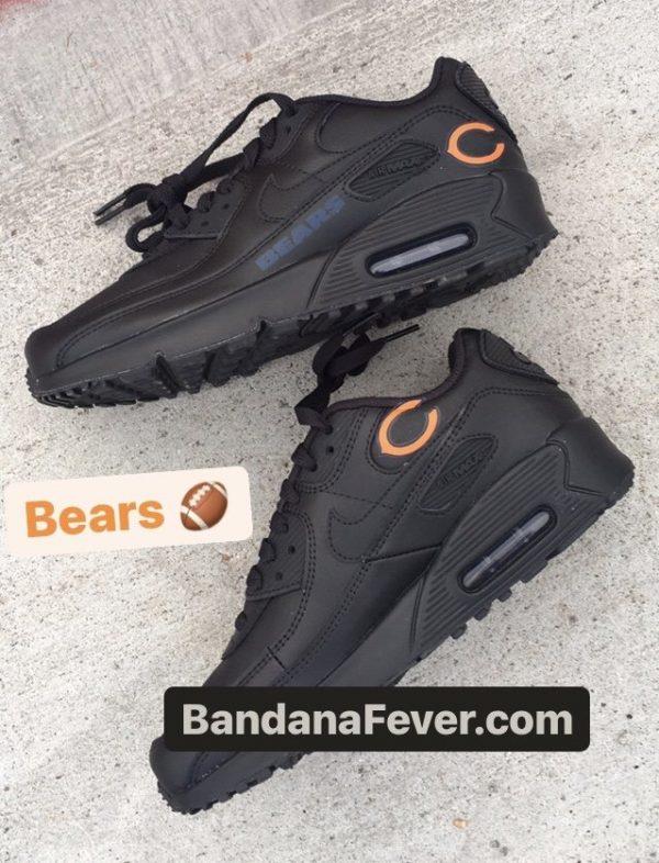 Chicago Bears Blue Nike Air Max Shoes Black Sides at BandanaFever.com