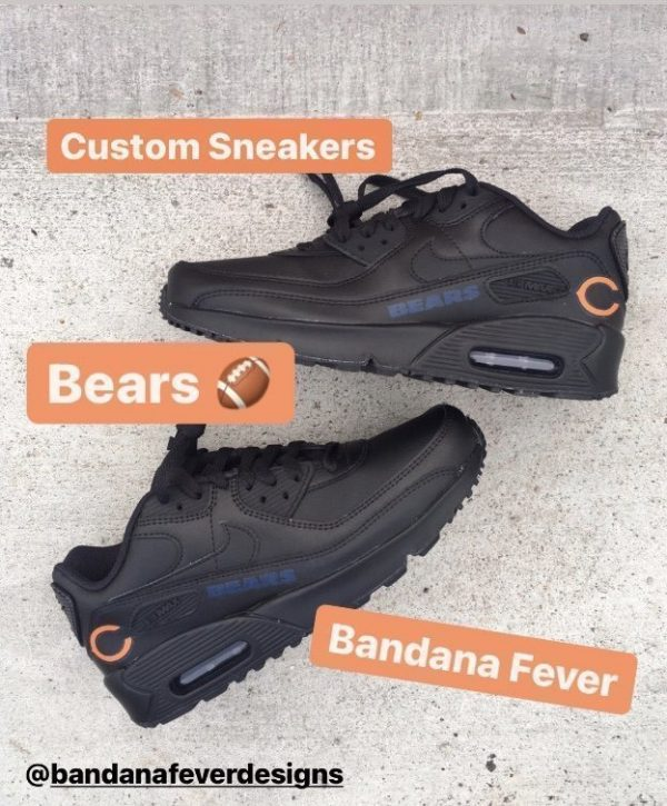 Chicago Bears Blue Nike Air Max Shoes Black Stagger at BandanaFever.com