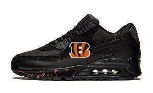 Cincinnati Bengals Orange Splat Custom Nike Air Max Shoes Black by BandanaFever.com