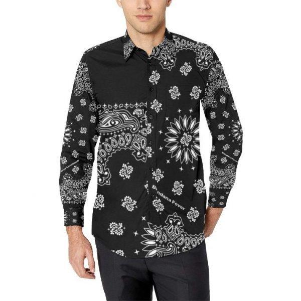 Black Bandana Button Up Shirt at BandanaFever.com