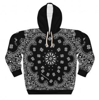 Black Bandana Custom Hoodie Pullover Black by BandanaFever.com