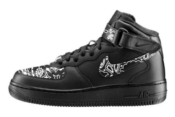 Black Bandana Scarf Custom Nike Air Force 1 Mid Shoes Black Swoosh - Bandana Fever