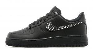 Black Bandana Custom Nike Air Force 1 Shoes Black Low Swoosh by BandanaFever.com