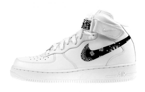 Black Bandana Scarf Custom Nike Air Force 1 Shoes White Mid Swoosh - Bandana Fever