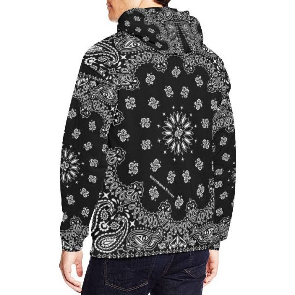 Black Bandana Pullover Hoodie by BandanaFever.com