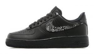 Black Bandana Scarf Custom Nike Air Force 1 Shoes Black Swoosh - Bandana Fever