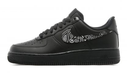 Black Bandana Scarf Custom Nike Air Force 1 Shoes Black Swoosh - Bandana Fever