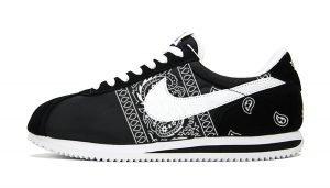 Black Bandana Teardrops Custom Nike Cortez Shoes NBW Sides by BandanaFever.com