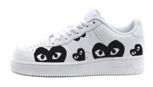 Black CDG Play Custom Nike Air Force 1 Shoes White Low by BandanaFever.com