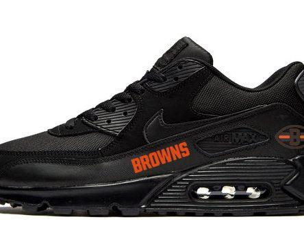 Cleveland Browns Orange Custom Nike Air Max Shoes Black