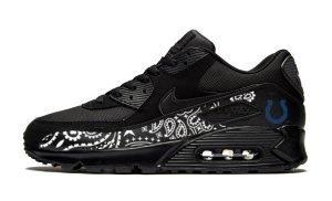 Indianapolis Colts Black Bandana Custom Nike Air Max Shoes Black by BandanaFever.com