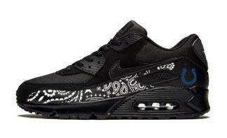 Indianapolis Colts White Bandana Custom Nike Air Max Shoes Black by Bandana Fever