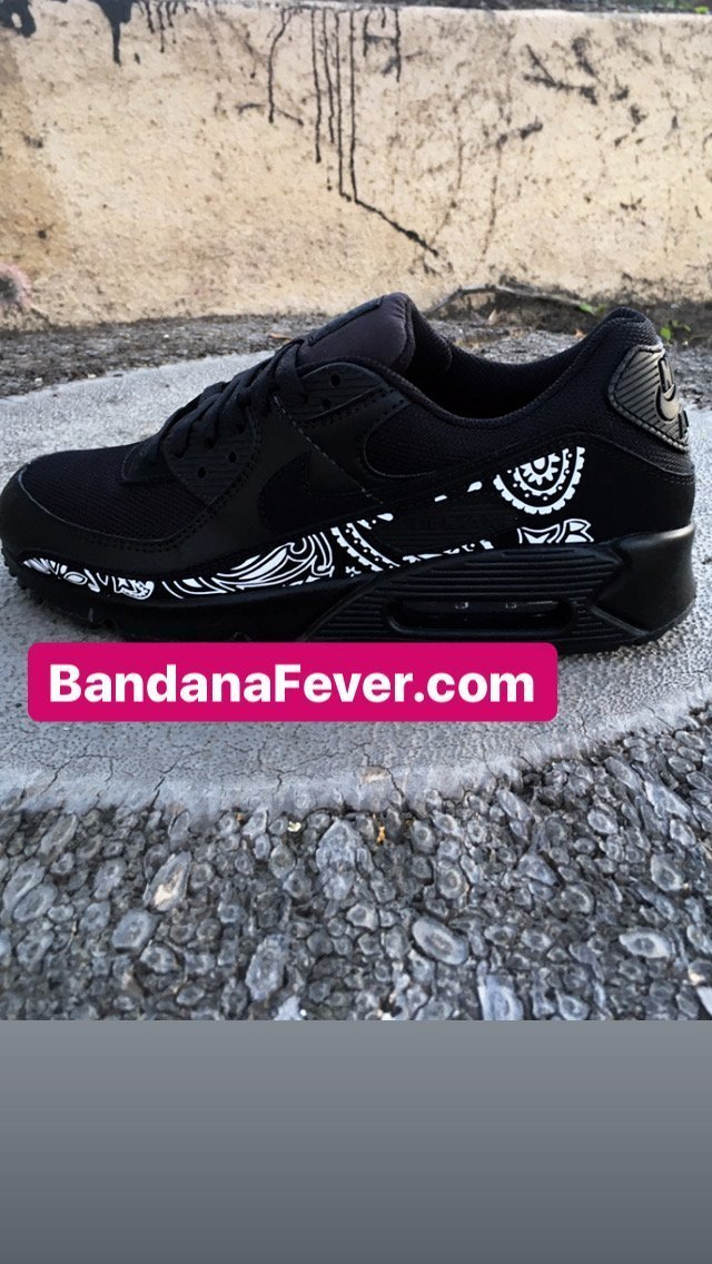 Custom Nike White Bandana Air Max 90 Black Shoes at BandanaFever.com