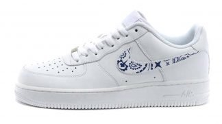 Navy Blue Bandana Custom Nike Air Force 1 Shoes White Swoosh by BandanaFever.com