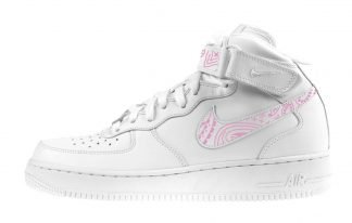 Pink Bandana Custom Nike Air Force 1 Shoes White Mid Swoosh Strap by BandanaFever.com