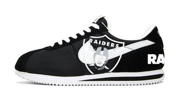 Oakland Raiders Custom Nike Cortez Shoes Black at BandanaFever.com