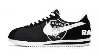 Las Vegas Raiders Custom Nike Cortez Shoes NBW by BandanaFever.com