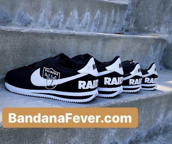 Las Vegas Raiders Custom Nike Cortez Shoes NBW at BandanaFever.com
