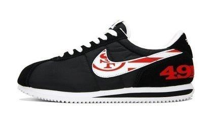 SF 49ers Red Flag Custom Nike Cortez Shoes NBW at BandanaFever.com
