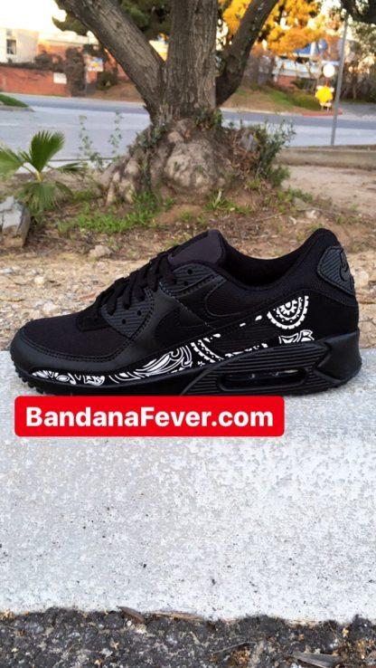 Bandana Fever Black Bandana Custom Nike Air Max Shoes Black at BandanaFever.com