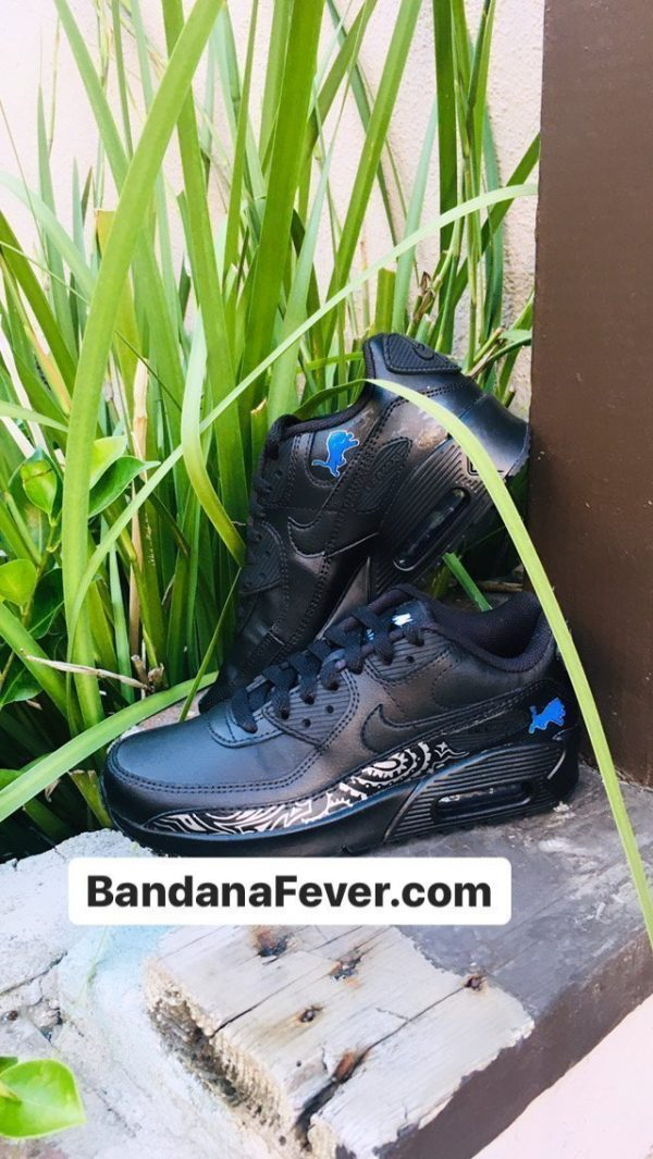 Bandana Fever Detroit Lions Silver Bandana Custom Nike Air Max Shoes Black Sides