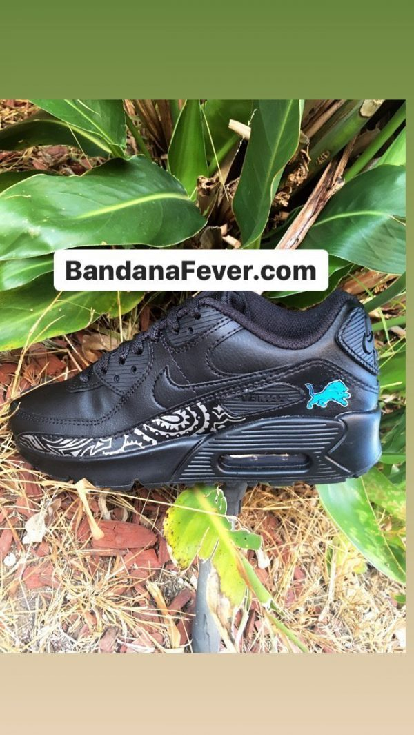 Bandana Fever Detroit Lions Silver Bandana Custom Nike Air Max Shoes Black by BandanaFever.com