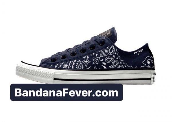 Bandana Fever Navy Blue Bandana Custom Converse Shoes Navy/Black Low at BandanaFever.com