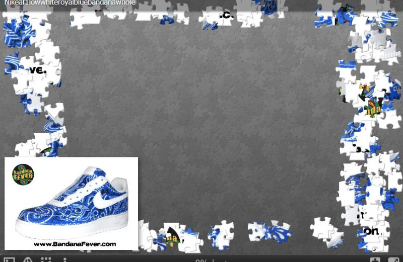 Nike AF1 Custom Jigsaw Puzzle Royal Bandana Design at BandanaFever.com