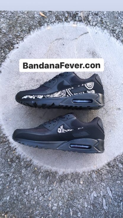 Black Bandana Custom Nike Air Max Shoe Sides Black by BandanaFever.com
