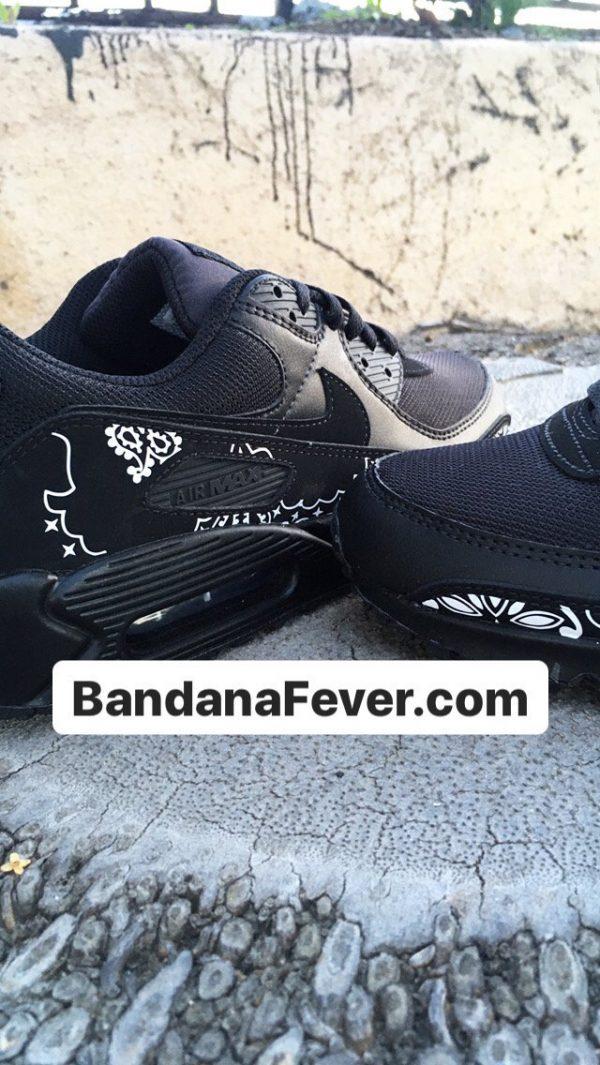 Black Bandana Custom Nike Air Max Shoes Close Black at BandanaFever.com