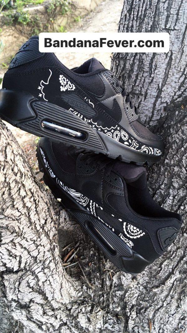 Black Bandana Custom Nike Air Max Shoes Crossed Black at BandanaFever.com