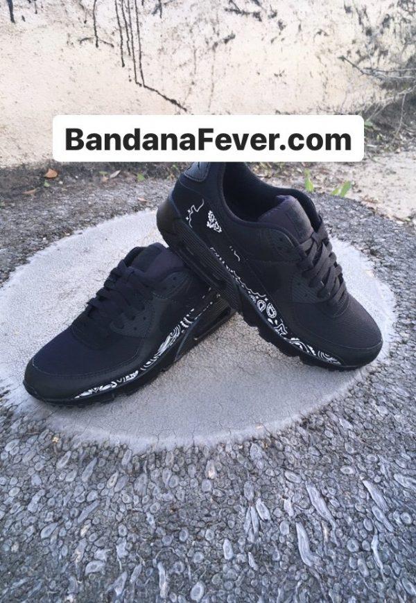 Black Bandana Custom Nike Air Max Shoes Stacked Black at BandanaFever.com