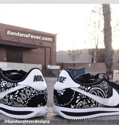 Black Bandana Custom Nike Cortez Shoes NBW Half Oustides at BandanaFever.com