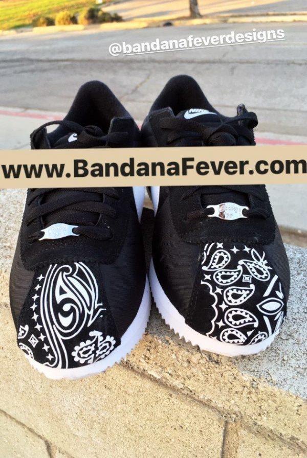 Black Bandana Custom Nike Cortez Shoes NBW Half Toes at BandanaFever.com