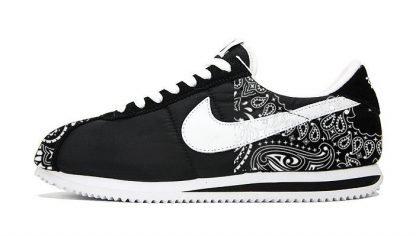 Black Bandana Custom Nike Cortez Shoes Black Half by BandanaFever.com