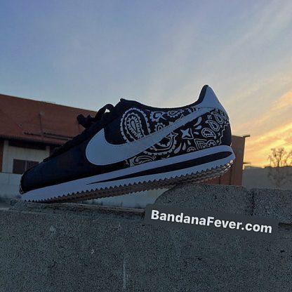 Black Bandana Custom Nike Cortez Shoes NBW Half Dusk at BandanaFever.com