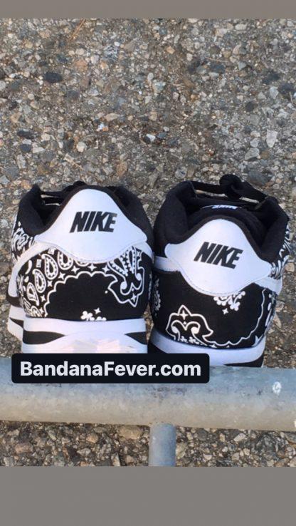 Black Bandana Custom Nike Cortez Shoes NBW Half Heels at BandanaFever.com
